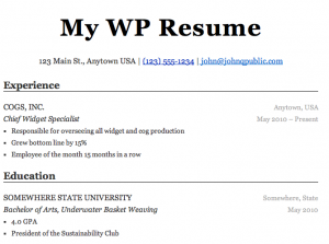 wordpress resume plugin ben balter
