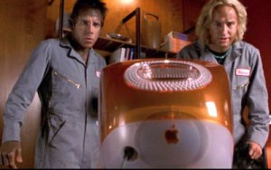 Ben Still and Owen Wilson stare at a computer from the movie Zoolander