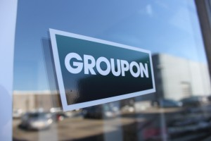 Groupon logo on an office door