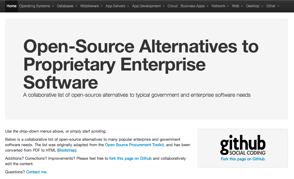 Open Source Alternatives Screenshot