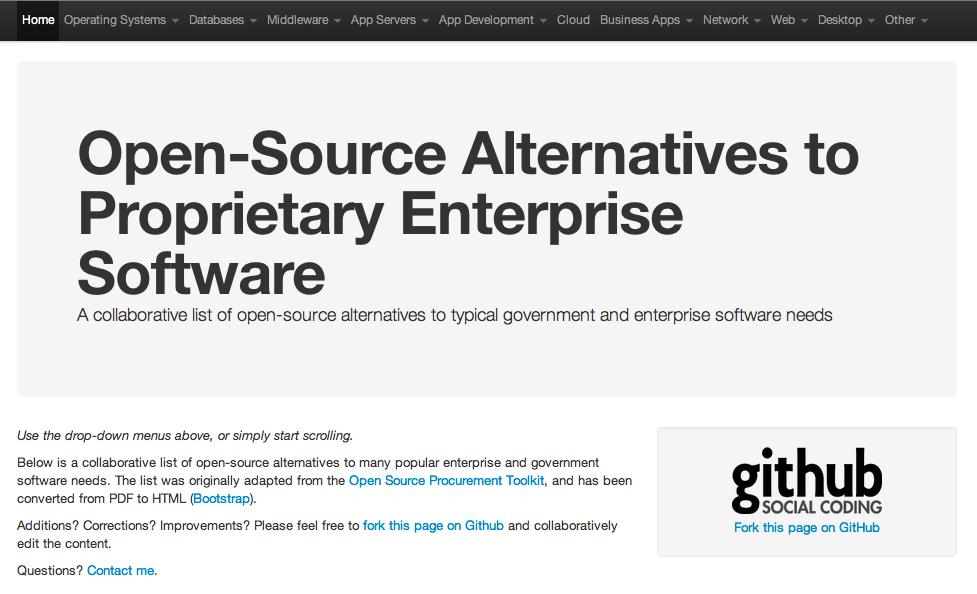Open Source Alternatives Screenshot